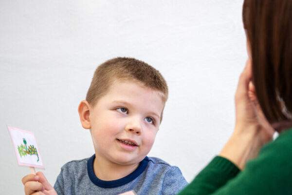 Young boy in speech therapy office. Preschooler exercising correct pronunciation with speech therapist. Child Occupational Therapy Session.