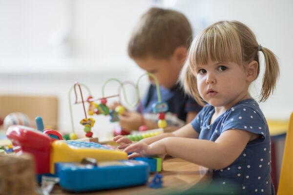 Little girl portrait in pre school